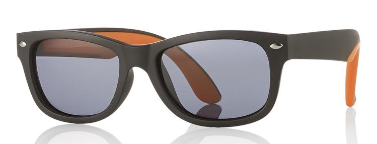 Bild von Kinder-Sonnenbrille, Gr. 48-16, schwarz/orange, polarisierende Gläser grau