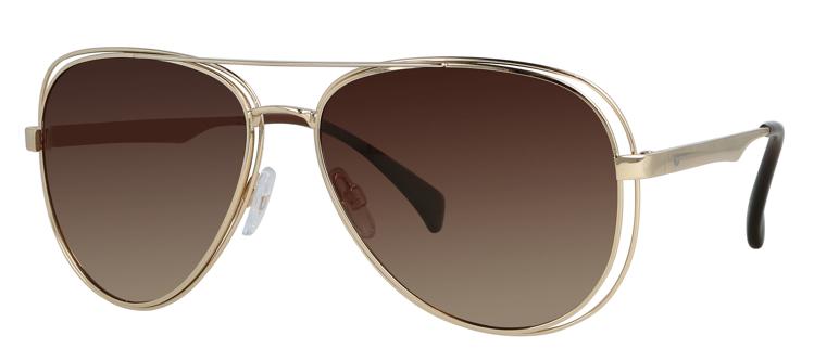 Bild von Metall-Sonnenbrille, gold, Gr. 58-15, polarisierende Gläser braun Verlauf