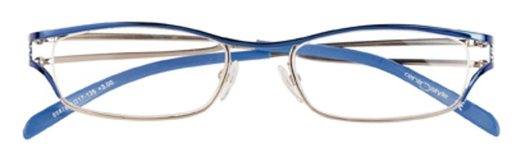 Bild von Nylonfaden-Metalllesebrille, blau/silber, +2.50 dptr.