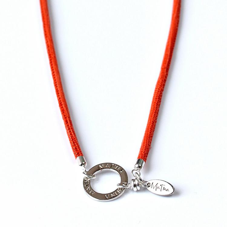 Bild von Brillenkette MaTina 3 in 1, Nappaleder (Echsenprägung) orange, 1 Stück