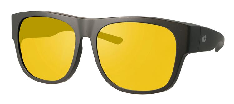 Bild von Überziehbrille schwarz matt, Grilamid, gelbe pol. Gläser, große Form, Gr. 57-16