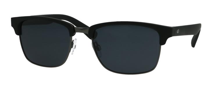 Bild von Kunststoff-/Metall-Sonnenbrille, schwarz matt/gun, polarisierende Gläser grau
