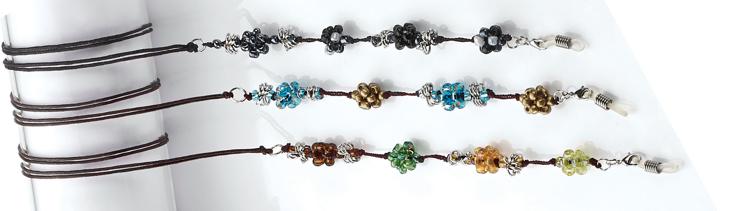 Picture of Modische Brillenkette, Perlen hellblau/braun, 1 Stück