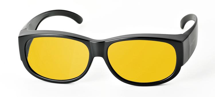 Bild von Überziehbrille schwarz, Grilamid, gelbe pol. Gläser, eckige Form groß, Gr. 62-13