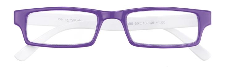 Bild von Kunststofflesebrille, violett/weiß, 50-18, +1.00 dptr.