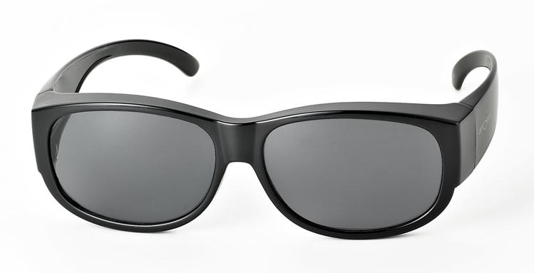 Bild von Überziehbrille schwarz, Grilamid, graue pol. Gläser, runde Form, Gr. 60-15
