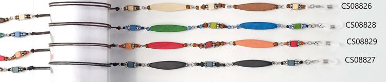 Bild von Brillenkette aus Holz + Perlen, eliptisch rot/pink, 1 Stück