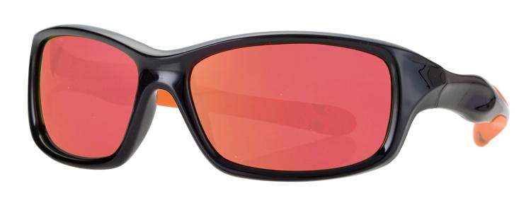 Bild von Kinder-Sonnenbrille, schwarz/orange, Gr. 50-15, Polycarbonatgläser verspiegelt