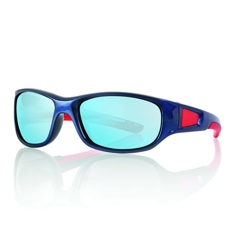 Bild von Kinder-Sonnenbrille, 5-7 Jahre, blau/rot, Gr.53-15, verspiegelte Gläser, 1 Stück