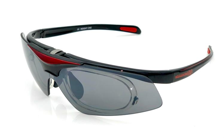 Picture of Insight One - Die Triple xXx Sportbrille mit Korrektionsadapter, schwarz/rot